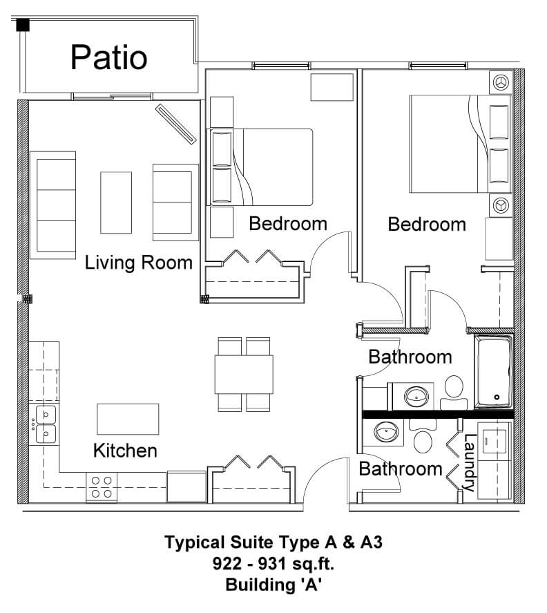 Typical Suite Type A & A3 - Pine Creek Manor