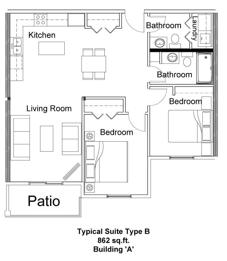 Typical Suite Type B - Pine Creek Manor