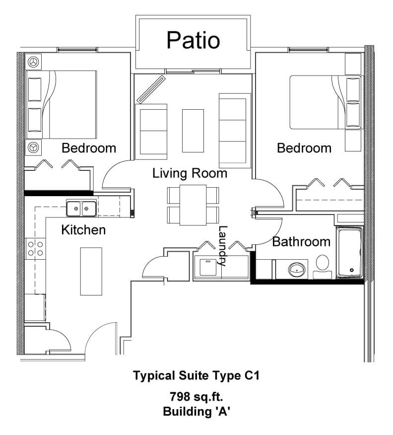 Typical Suite Type C1 - Pine Creek Manor